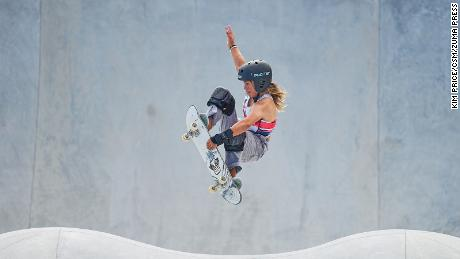 Great Britain's Sky Brown competes in the park skateboarding competition at the Tokyo Olympics, winning the bronze medal.