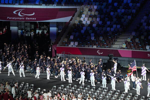 United States Paralympic team players at the Olympic Stadium during the opening ceremony.