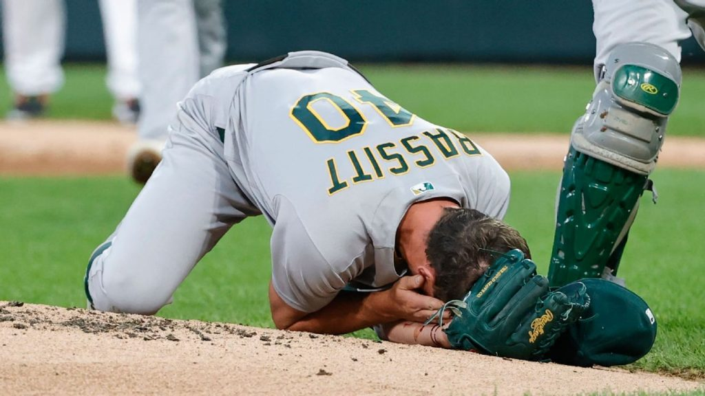 Oakland pitcher Chris Bassett 'conscious and conscious' after driving the line hit him in the head