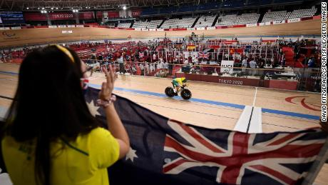 Australia's Paige Greco competes in the C1-3 3,000m individual pursuit qualifier at Izu Raceway on day one during the 2020 Tokyo Summer Paralympics in Shizuoka, Japan.