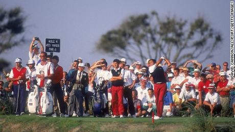 The Ballesteros sword plows into the fourth hole seen by European team partner Jose Maria Olzabal and American duo Paul Azinger and Chip Beck.