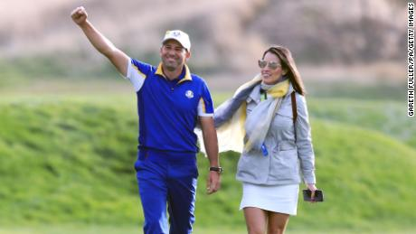 Team Europe Garcia celebrates with his wife Angela after the singles match on day three of the 2018 Ryder Cup.