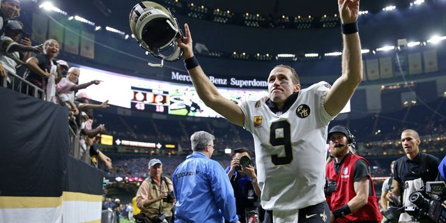Drew Press of the New Orleans Saints runs off the field after a game against the Washington Redskins at the Mercedes-Benz Superdome.