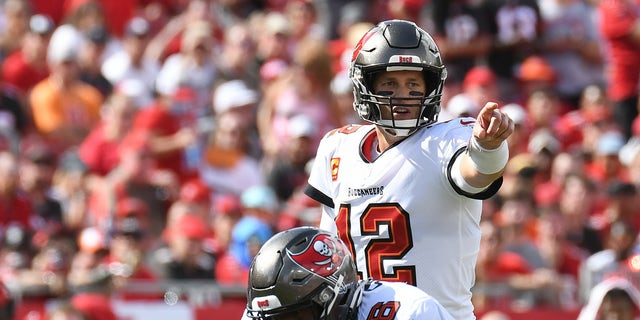 Tampa Bay Buccaneers quarterback Tom Brady (12) in the first half against the Atlanta Falcons at Raymond James Stadium.