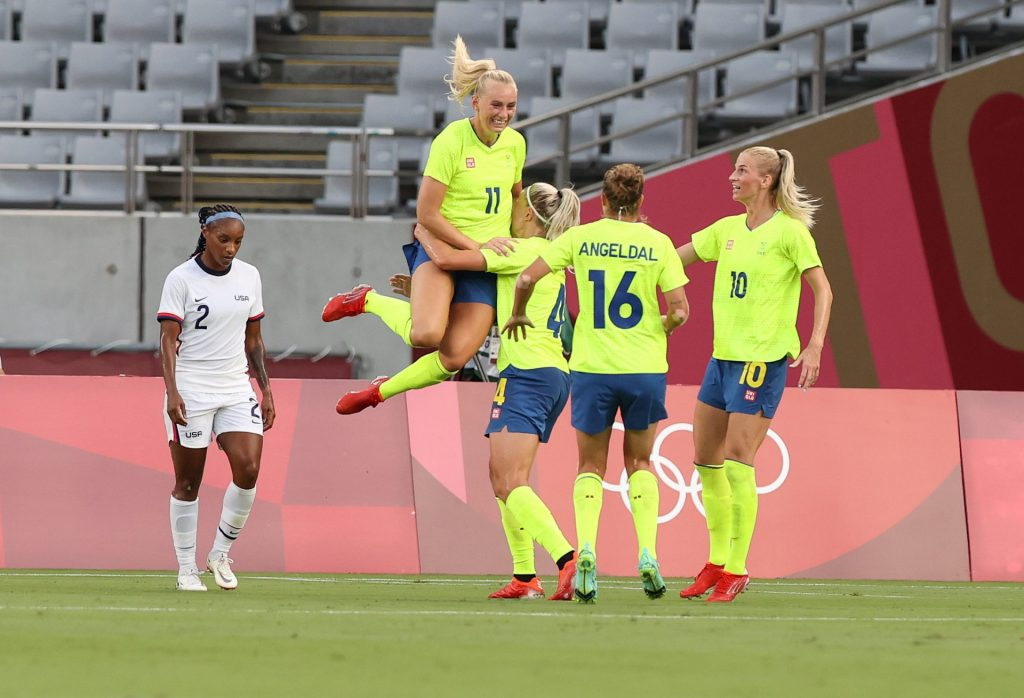 |  Sweden defeated the United States in the first group match of the Olympics